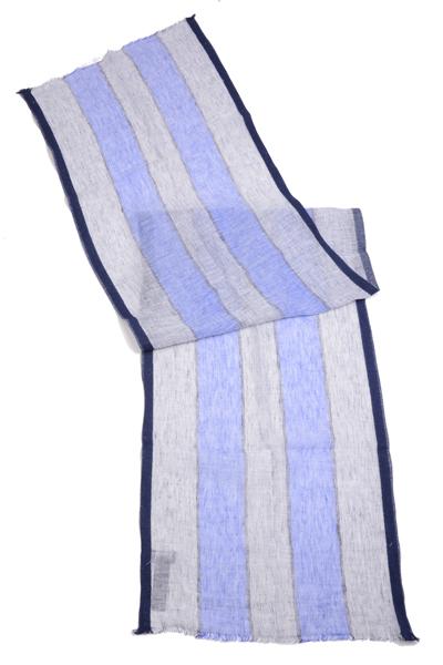 ハケット ロンドン 春夏 シックス・フッター スカーフ HM041595 キューバーストライプ 綿・麻シフォン ネイビーxグレー