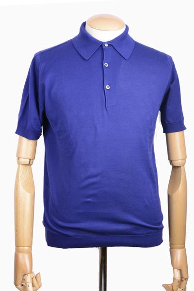 cda2e1b6b8b9 春夏 ジョンスメドレー メンズ JOHN SMEDLEY S3798 半袖ポロニットシャツ ブルー シーアイランドコットン