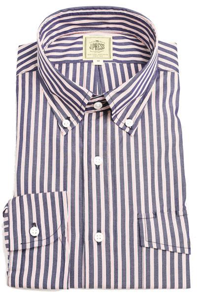 Jプレス メンズ J.PRESS MEN'S BDドレス&カジュアルシャツ 長袖 ブロードクロス サンドイッチ ストライプ 紺ベースにホワイトxワイン