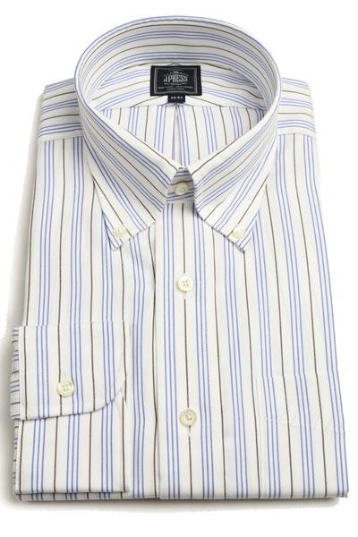 Jプレス メンズ J.PRESS MEN'S ボタンダウンシャツ長袖 パッチポケット 形態安定プレミアムプリーツBDシャツ 期間限定今なら送料無料 ブラウンxブルー マルチトリプルストライプ 限定品