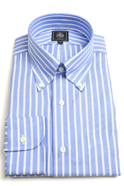 Jプレス ご予約品 メンズ J.PRESS MEN'S ボタンダウンシャツ長袖 ブルーベース 形態安定プレミアムプリーツBDシャツ パッチポケット オックスストライプ 低価格化 x ホワイト