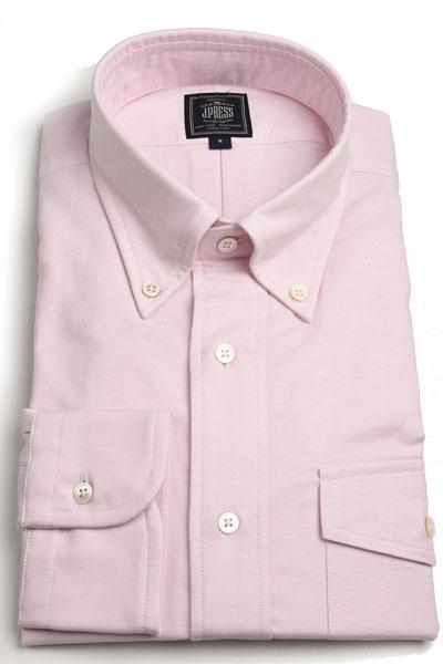Jプレス メンズ J.PRESS MEN'S アービング ボタンダウンシャツ 長袖ヴィンテージオックス パッチ&フラップポケット付 ピンク