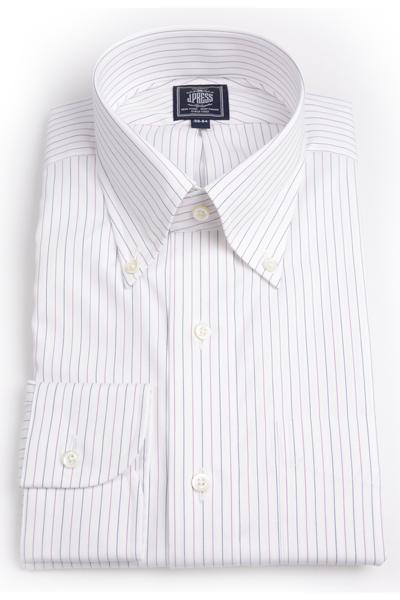 Jプレス メンズ J.PRESS MEN'S ボタンダウンシャツ 80/2スーピマコットン オルタネートピンストライプ プレミアムプリーツ(形態安定機能)ブラックxパープル