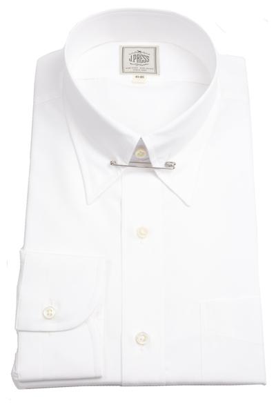 Jプレス メンズ J.PRESS MEN'S ピンホールカラー シャツ 100/2 綿ブロード イージーアイロン ホワイト