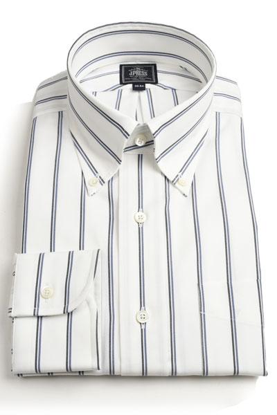 【代引き不可】 Jプレス メンズ J.PRESS 長袖ボタンダウン ドレスシャツ ダブルストライプ 綿ブロード ネイビーxブルー プレミアムプリーツ・ウオッシュ アンド ウェア, いいヘナオンラインショップ 8959cab6