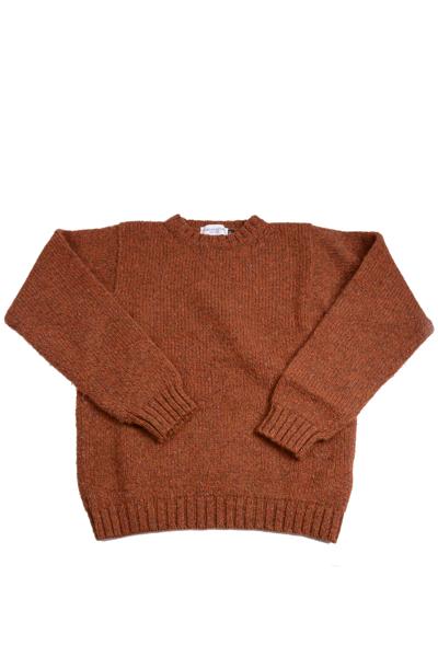 マカラスターMACALASTAIR シェトランド クルーネックセーター ラセット(赤褐色)ブリテッシュウール ミドルゲージハンドフレームニット
