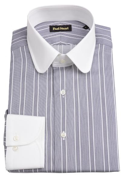ポールスチュアート PAUL STUART メンズ ラウンドクレリックシャツ グレー ドレスシャツ サテンストライプ