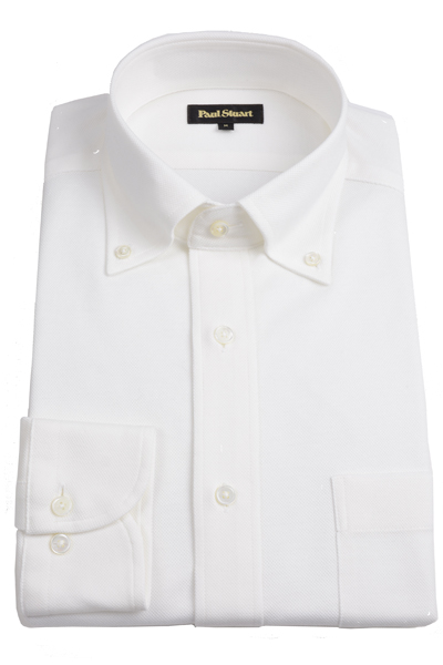 ポールスチュアート PAUL STUART メンズ カノコボタンダウンシャツ ホワイト ドレス&カジュアルシャツ ジャージーストレッチ