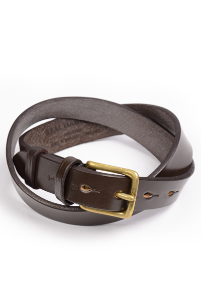 リアルハーネス スティラップレザー馬具革ベルト 28mm 英国製 ホールナンバー付 UKブライドルレザー 真鍮バックル ハバナ