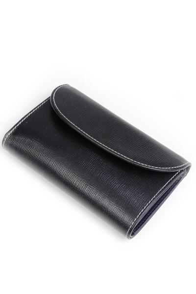 ホワイトハウスコックス WhitehouseCox S7660 コインケース付三つ折財布 ブラックxネイビー リージェントブライドルレザー ツートン