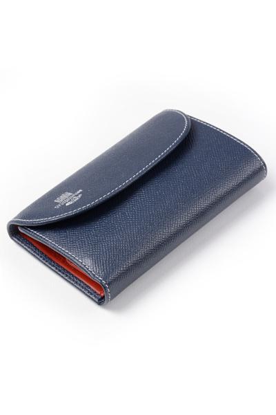 ホワイトハウスコックス s7660 三つ折小銭入れ付財布(ユニセックスウォレット)ロンドンカーフxブライドルレザー 新作ツートンカラー ネイビーxレッド