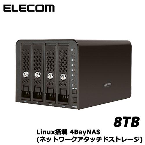 エレコム NSR-6S8T4BLB [Linux搭載NAS/4Bay/8TB]