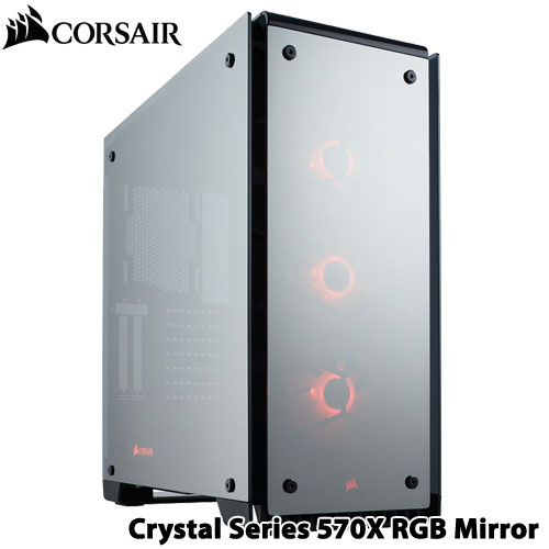 コルセア CC-9011126-WW [ATX ミドルタワーケース Crystal 570X RGB Mirror Black Tempered Glass]