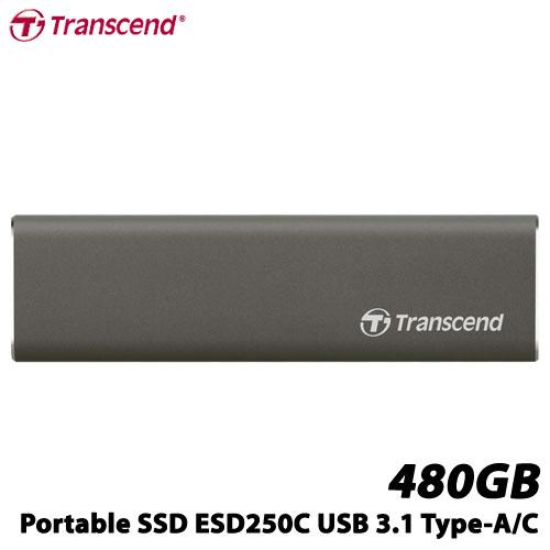 トランセンド TS480GESD250C [480GB ポータブルSSD ESD250C USB 3.1 Type-A/Type-C]