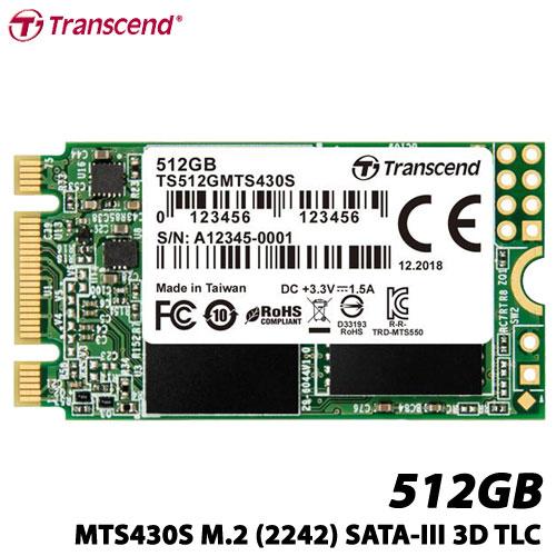 トランセンド TS512GMTS430S [512GB SSD MTS430S M.2 Type 2242 SATA-III DDR3キャッシュ 3D TLC NAND 5年保証]