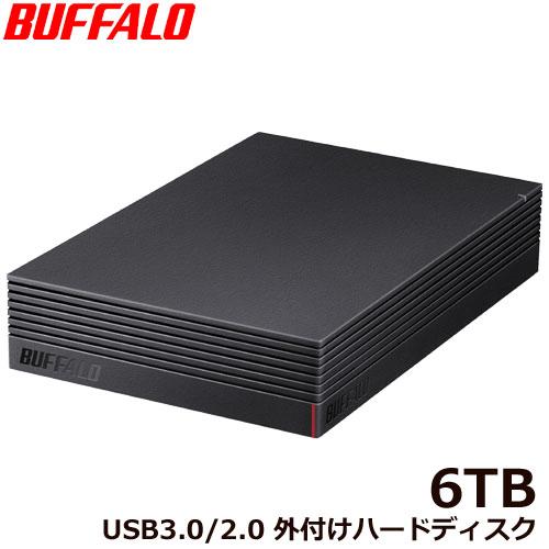 バッファロー HD-NRLD6.0U3-BA [USB3.1/USB3.0/USB2.0 外付けHDD PC&TV録画 静音&防振&放熱設計 見守り合図 6TB]