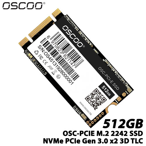 OSCOO OSC-PCI-E 512GB 2242 BM [512GB SSD OSC-PCIE 2242シリーズ M.2(2242 B&M Key) NVMe PCIe Gen 3.0 x2]