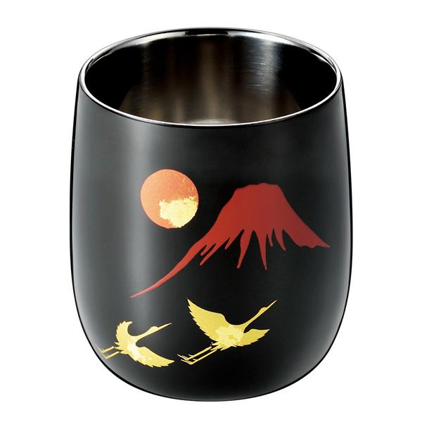 【送料無料】『漆磨 (シーマ) 2重ロックカップ 1客』【日本製 ステンレスカップ カップ 蒔絵 赤富士 鶴 さかずき 酒器】