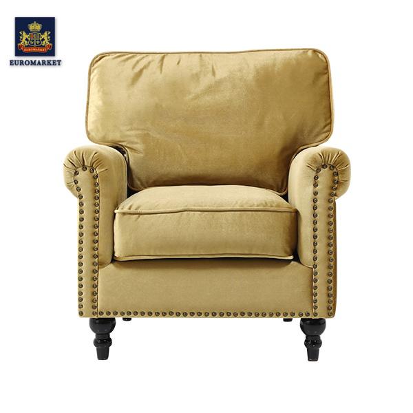 ヴィンセントシリーズ ゴールドベルベットヴィンテージスタイルシングルアームソファ ソファー アームチェア 椅子 ソファ 一人掛け 1人掛け ファブリック 布地 高級 アンティーク ヴィンテージ ビンテージ レトロ イギリス 英国 UK VG1F85K