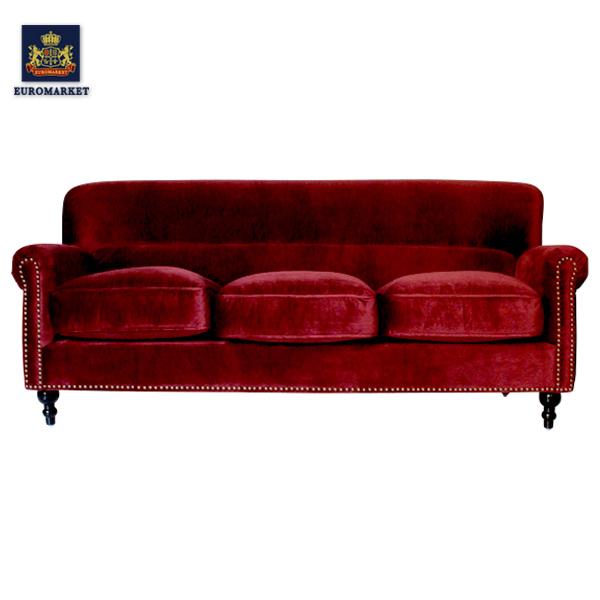 レッドベルベットコンパクトトリプルソファ ソファー 三人掛け 3人掛け 3シーター ベルベット 赤色 アンティーク ヴィンテージ ビンテージ レトロ イギリス 英国 UK VN3F41K