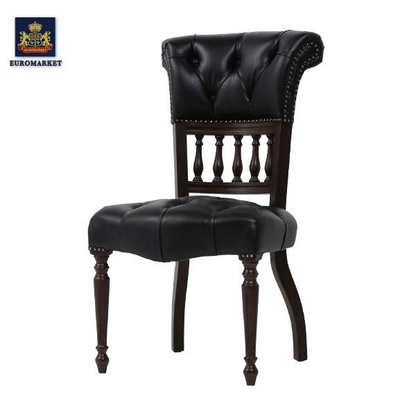 ブラックPUレザーキャプテンシングルチェア Mサイズ VINCENT(ヴィンセント)シリーズ パーソナル 椅子 イス 英国 イギリス アンティーク調 ヴィンテージ ビンテージ 木製家具 PU レザー調 合成皮革 9001-M-5P32B