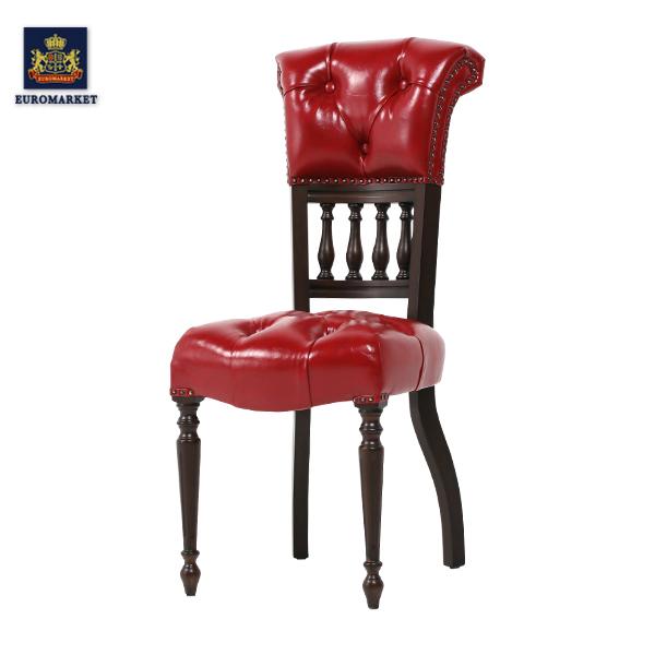 【受注製作品】レッドPUレザーキャプテンシングルチェア Sサイズ Vincent(ヴィンセント)シリーズ パーソナル 椅子 イス 英国 イギリス アンティーク調 ヴィンテージ ビンテージ 木製家具 PU レザー調 合成皮革 9001-S-5P63B