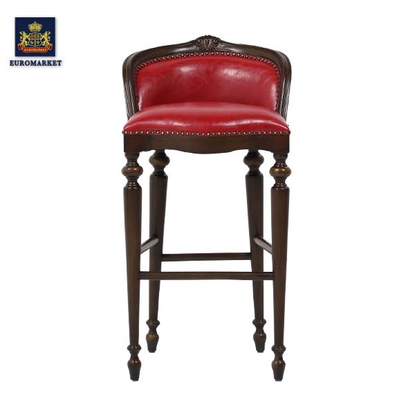 レッドPUレザーロココ調カウンターチェア カウンターチェア バーカウンター パブ バー 店舗 椅子 イス アンティーク アンティーク家具調 クラシック ヴィンテージ ビンテージ レトロ フランス イギリス レッド 赤 合成皮革 9009-5P63