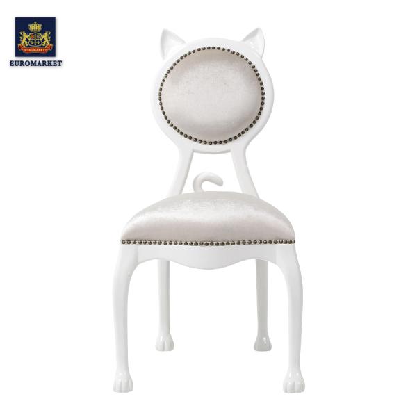 【「白猫椅子」パールベルベットキャットシングルチェア 】アンティーク調家具 ホワイトファブリック 布製 ベルベット (インテリア アンティーク風 おしゃれ かわいい ショップ 猫カフェ ペットショップ 待合室 いす 6106-18F220