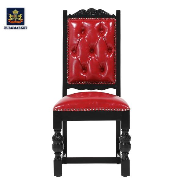 レッドPUレザーパンキッシュスタッズシングルチェア KINGSCROSS チェア ダイニングチェア 椅子 チェア アンティーク調 ヴィンテージ クラッシック イギリス 英国 PUレザー 本革調 レザー調 合成皮革 合皮 レッド 赤 9012-8P63PN