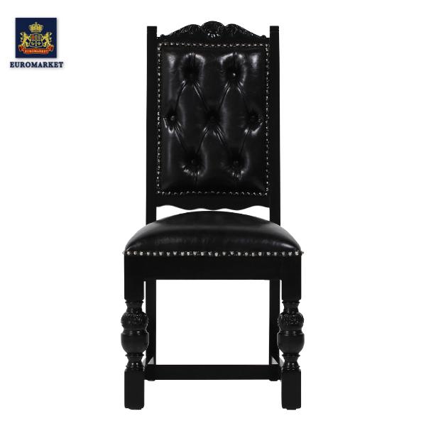 ブラックPUレザーパンキッシュスタッズシングルチェア KINGSCROSS チェア ダイニングチェア 椅子 チェア アンティーク調 ヴィンテージ クラッシック イギリス 英国 PUレザー 本革調 レザー調 合成皮革 合皮 黒 9012-8P51PN