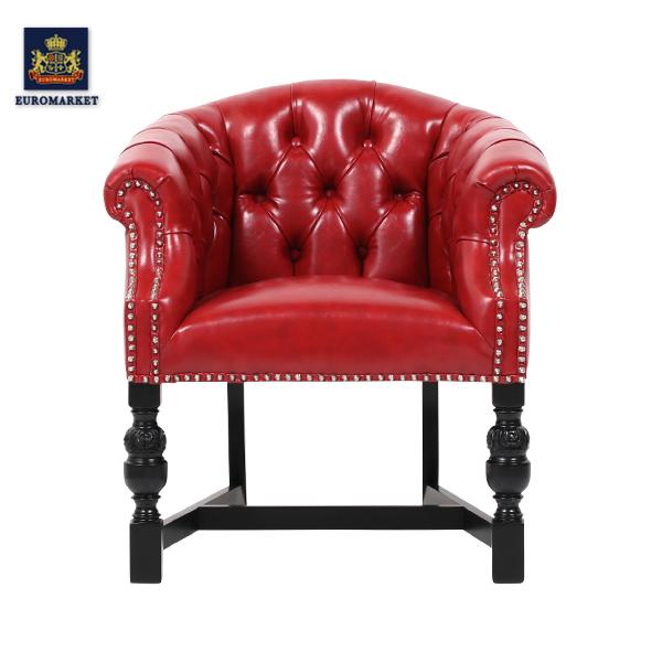 【受注製作品】レッドPUレザーパンキッシュスタッズラウンジチェア パーソナル 椅子 イス アームチェア 肘掛け 英国 イギリス アンティーク調 ヴィンテージ ビンテージ 木製家具 PU レザー調 合成皮革 9003-8P63B-PN
