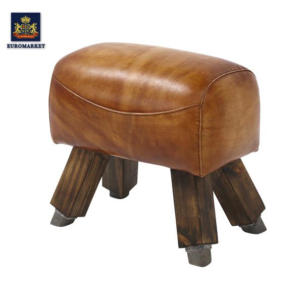 ウォッシュブラウンレザースツール(サイドホース) 椅子 イス アンティーク アンティーク家具調 クラシック ヴィンテージ ビンテージ 本革 レザー KS2083-1WB