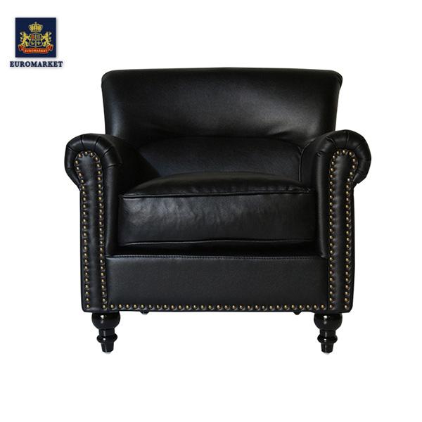 ヴィンセントシリーズ ブラックコンパクトシングルソファ ソファー アームチェア チェアー 椅子 ソファ 一人掛け 1人掛け ビニールレザー PUレザー 合皮 本革調 アンティーク ヴィンテージ ビンテージ レトロ イギリス 英国 UK VN1P32K