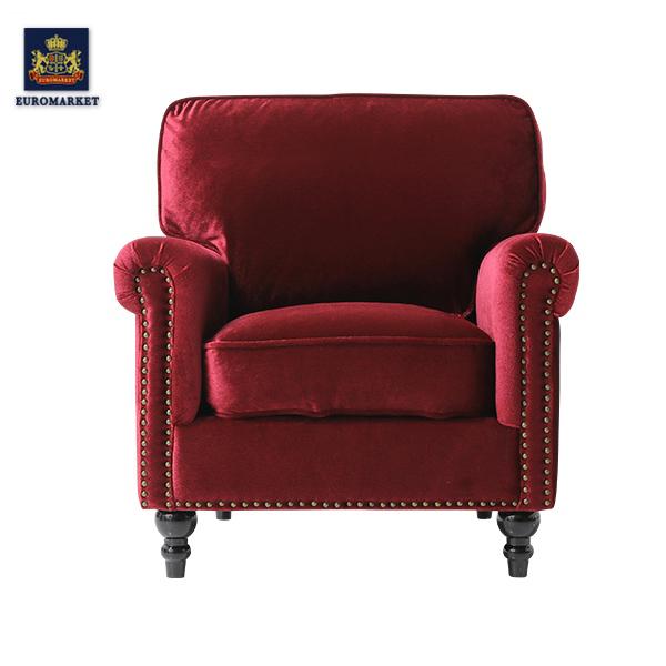 【受注製作品】ヴィンセントシリーズ レッドベルベットヴィンテージスタイルシングルアームソファ ソファー そふぁ アームチェア 椅子 ソファ 一人掛け 1人掛け ファブリック 布地 高級 アンティーク ヴィンテージ ビンテージ レトロ イギリス 英国 UK レッド 赤 VG1F41K