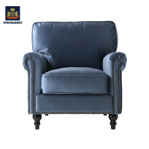 ヴィンセントシリーズ ブルーベルベットヴィンテージスタイルシングルアームソファ ソファー アームチェア 椅子 ソファ 一人掛け 1人掛け ファブリック 布地 高級 アンティーク ヴィンテージ ビンテージ レトロ イギリス 英国 UK ブルー 青 VG1F92K