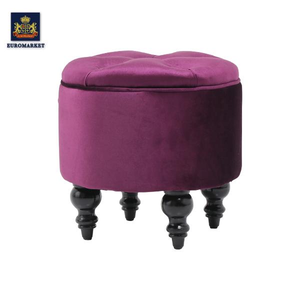 マカロン スツール フレンチスタイル マカロン 椅子 イス アンティーク アンティーク調 レトロ フランス ナチュラル シンプル パープル 紫 かわいい 可愛い ファブリック ベルベット サロン ネイルサロン 店舗用品 AJ6F222K