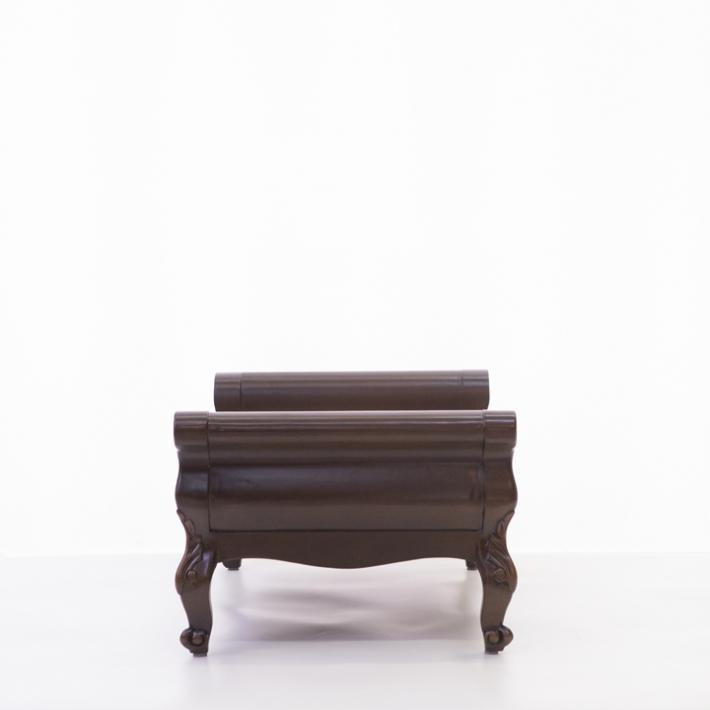 ペットスツール カドラー マット いす 椅子 イス ペット用品 ペット 犬 猫 アンティーク調 クラシック ロココ  リボンモチーフ 木製 ダークブラウン 1161-S-5F68