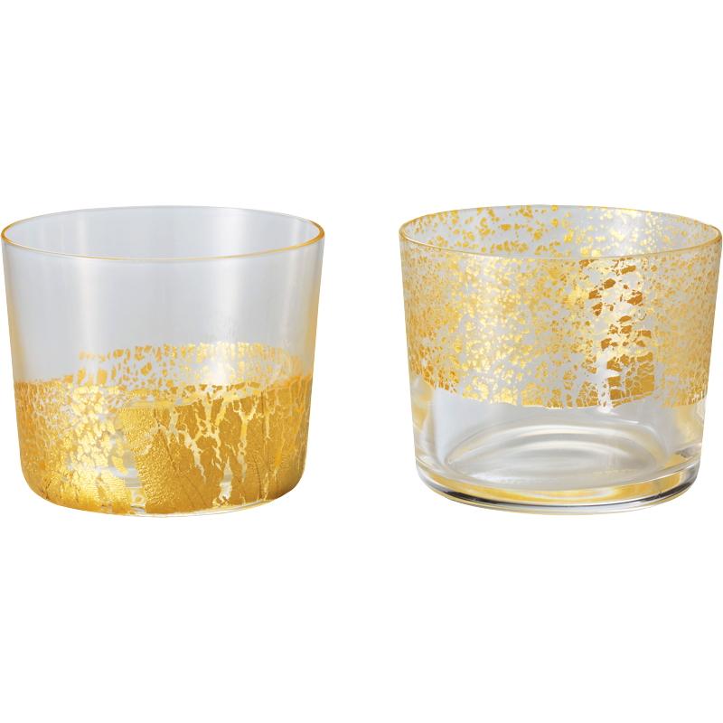 江戸硝子 金玻璃 冷酒杯純米2客揃え G641-T78