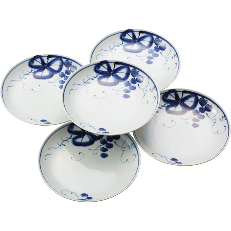 有田焼 古染青磁ぶどう絵 和皿大5枚セット 009-478