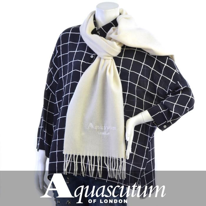 アクアスキュータム マフラー AQUASCUTUM ホワイト ASTOR 5 Bianco 【送料無料】