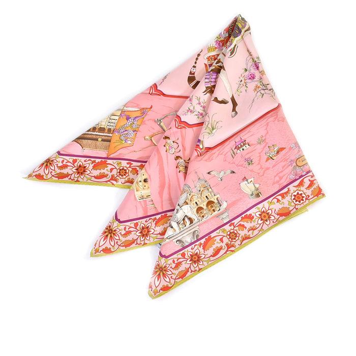 フェラガモ シルク スカーフ FERRAGAMO 31-6857-01 ライトグリーン ラスト1点 母の日 プレゼント