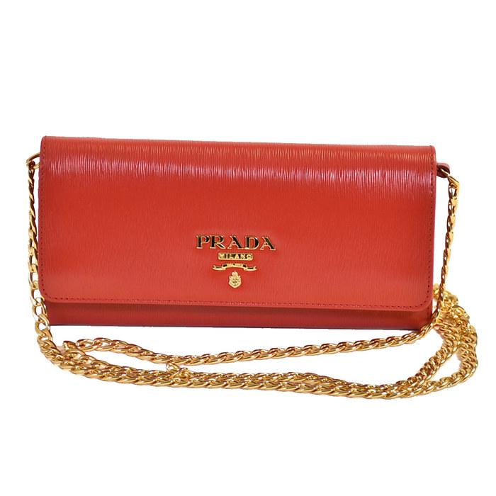 プラダ チェーンウォレット 長財布 PRADA 1BP290 2EZZ レッド レディース 母の日 プレゼント ギフト