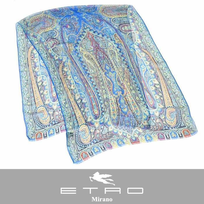エトロ シルク スカーフ ETRO 10007 5615 0250 DHELY ブルー 【送料無料】【ラスト1点】
