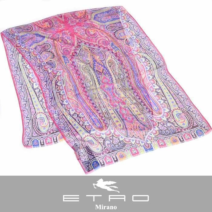 エトロ シルク スカーフ ETRO 10007 5615 0650 DHELY ピンク 【送料無料】【ラスト1点】