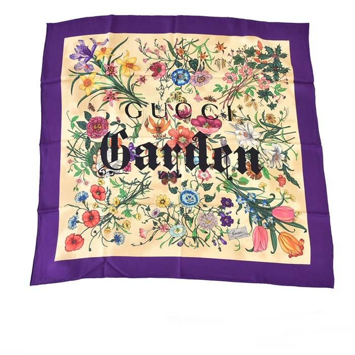 グッチ ガーデン プリント スカーフ シルク GUCCI 508070 パープル ラスト1点 母の日 プレゼント