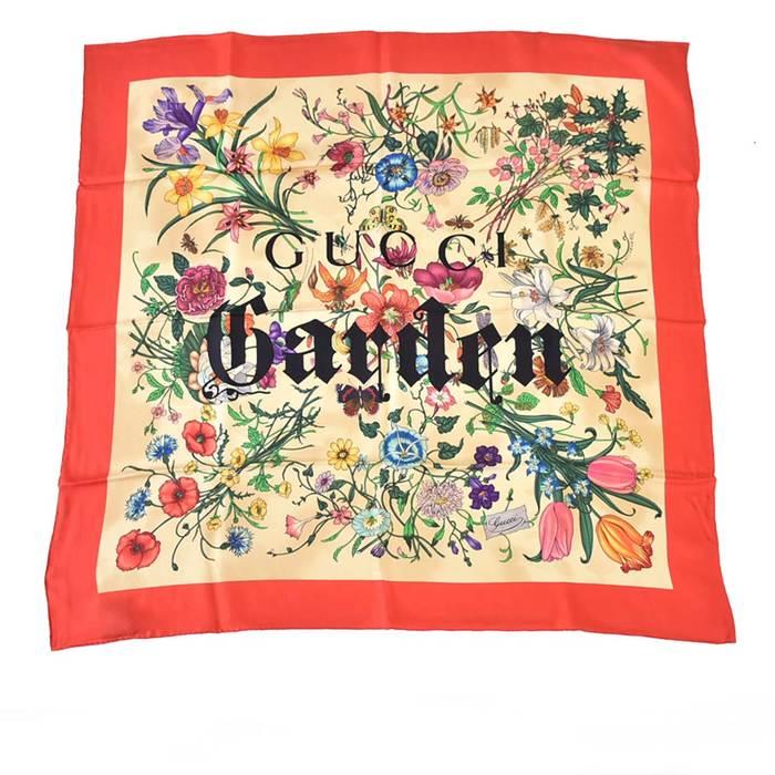 グッチ ガーデン プリント スカーフ シルク GUCCI 508070 レッド ラスト1点 母の日 プレゼント ギフト