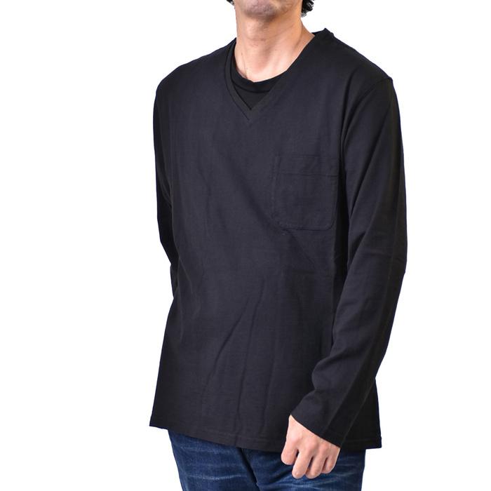 ハイドロゲン 長袖 VネックTシャツ HYDROGEN 230065 007 ブラック メンズ ギフト プレゼント ラスト1点