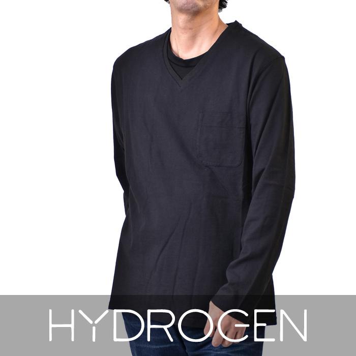 ハイドロゲン メンズ 長袖 VネックTシャツ HYDROGEN 230065 007 ブラック