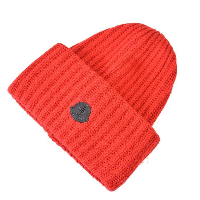モンクレール ウール リブニット帽 MONCLER 2017 2 09 1 00919 レッド メンズ レディース ラスト1点