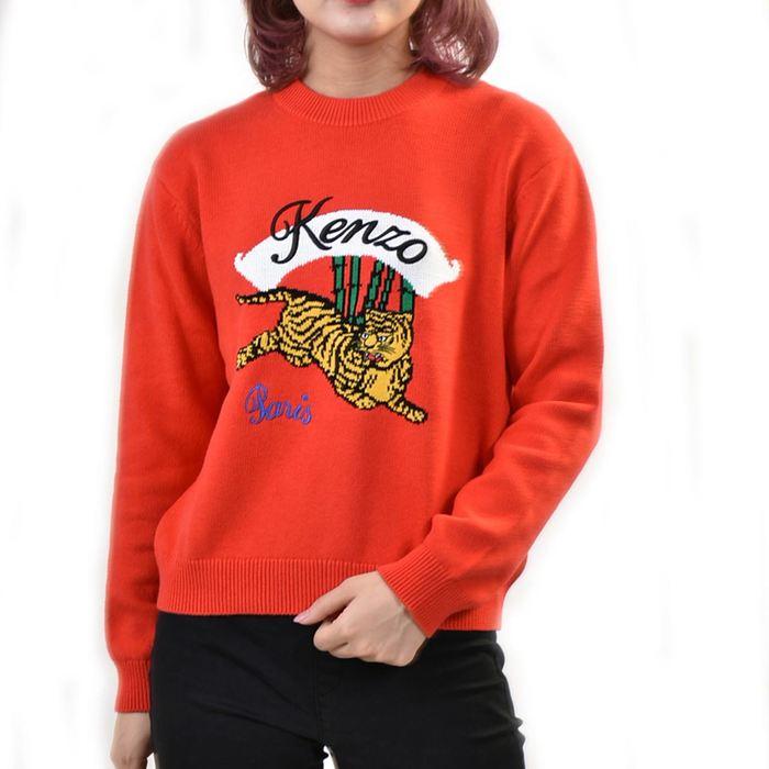 ケンゾー タイガー コットン混セーター KENZO F952TO537 3XC 21 レッド 母の日 プレゼント